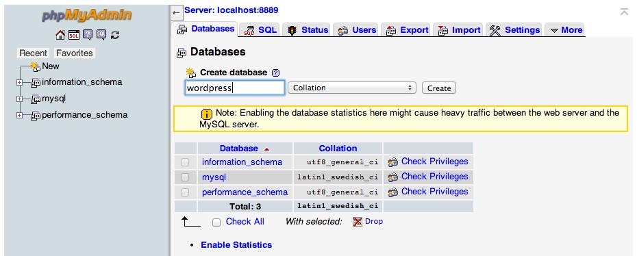 MAMP databases