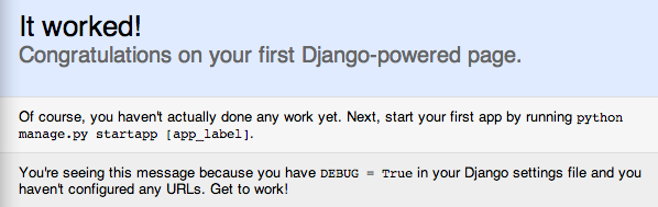 Django it worked page